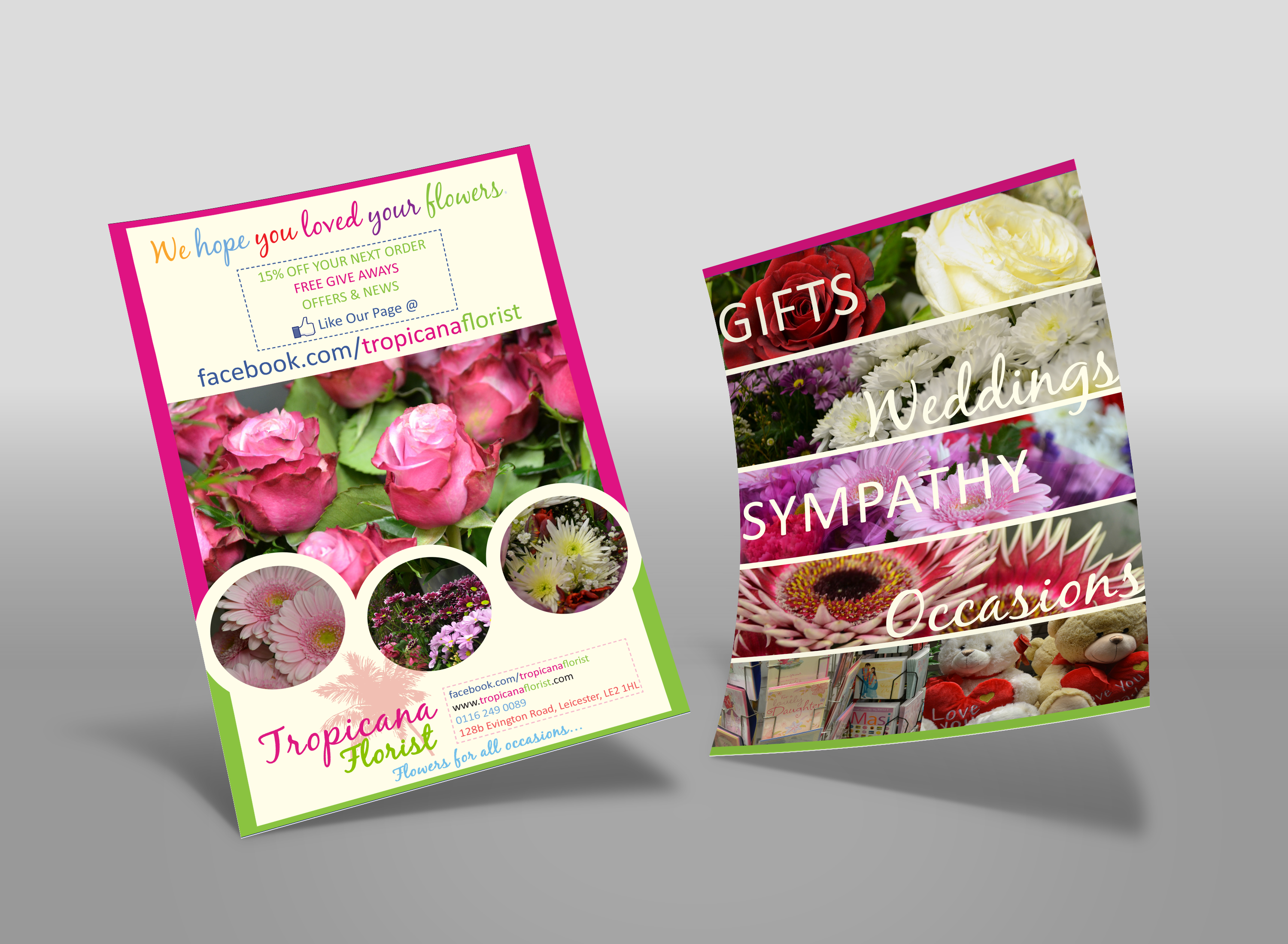 Using our own photography we created this leaflet. It has had ...: rootmarketing.co.uk/portfolio/tropicana-florist-leaflet